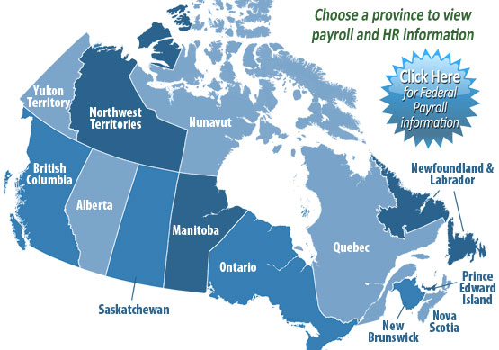 Canadian Provincial Payroll Information and Tips Map